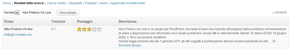 Finestra di ricerca plugin Albo Pretorio On Line